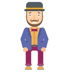 Embarrassed hipster circus performer vector