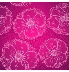 Ornate pink flowers seamless pattern vector image