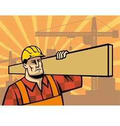 Building worker with board vector
