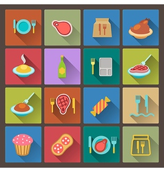 Food icons in flat design style vector