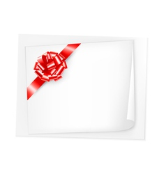 Holiday background with sheet of paper and red bow vector image