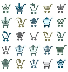 Shopping cart icons isolated on white background vector image