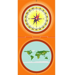 Compass with a map vector