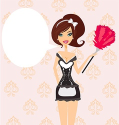 Sexy pinup style french maid vector