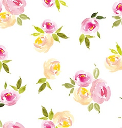 Floral background watercolor roses seamless vector
