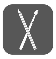The crossing pencil with a brush icon painting vector