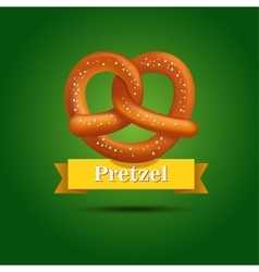 Realistic pretzel on the green background vector