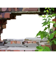 Background frame a hole in a brick wall vector