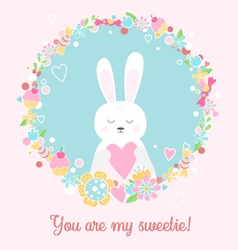 Cute rabbit with heart you are my sweetie vector