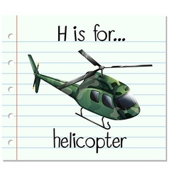 Flashcard letter h is for helicopter vector