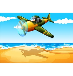 An aircraft at the beach vector