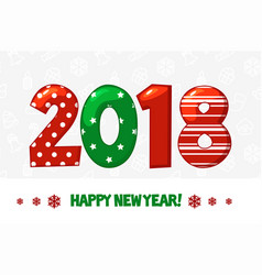 cartoon poster happy new year 2018 vector image vector image