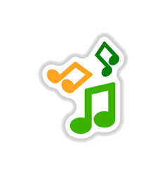 Color label design collection of music note vector