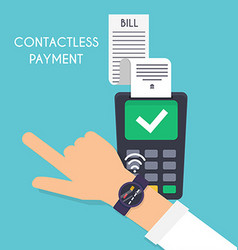 Contactless payment male pay with smart watch pay vector