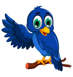 cute blue bird cartoon presenting vector image vector image