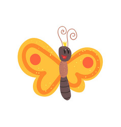 cute cartoon orange butterfly character vector image vector image