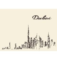 Dubai City skyline Hand drawn vector image vector image