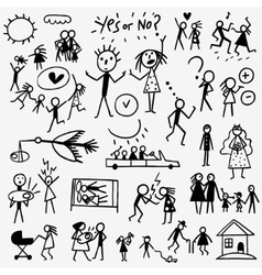 family doodles set vector image