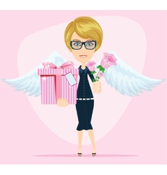 Female angel holding a bouquet of flowers and vector image
