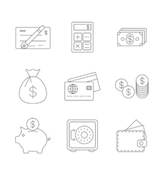 Finance icons line vector