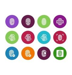 Fingerprint circle icons on white background vector