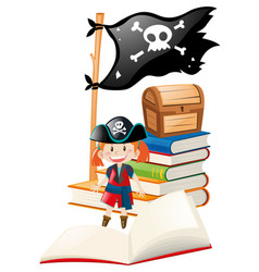Girl dressed up in pirate costume vector