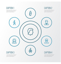 Human outline icons set collection of pulling vector