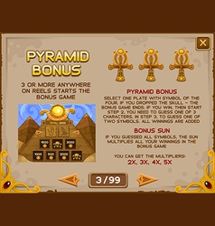 Info screen for slots game 3 vector image vector image