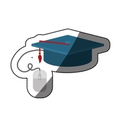 Isolated graduation cap and mouse design vector