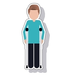man disable in crutch isolated icon vector image vector image