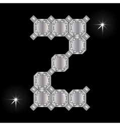 Metal letter z gemstone geometric shapes vector