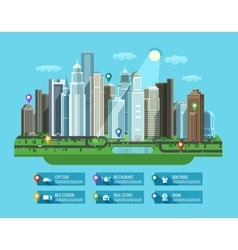 Modern city set of elements - building house vector
