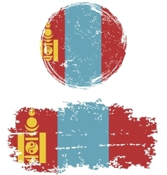 Mongolian round and square grunge flags vector
