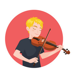 Musician playing violin boy violinist is inspired vector