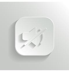 Mute icon - white app button vector