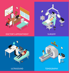 patient and doctor appointment set isometric view vector image