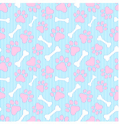 pattern with paws and bones vector image