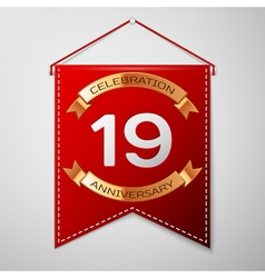 Red pennant with inscription nineteen years vector