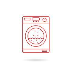 red thin line washing machine vector image