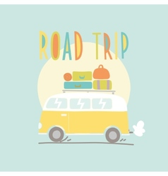 Road trip Van with a lot of luggage vector image