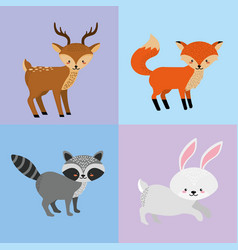 set cute animal and natural wildlife vector image vector image