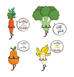 set of cute fruits and vegetables doing yoga with vector image vector image