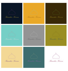 Set of icons in flat style ramadan logo vector