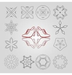 Set of stars colors and circular patterns vector image