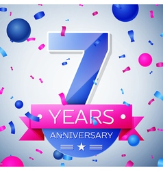 Seven years anniversary celebration on grey vector image vector image
