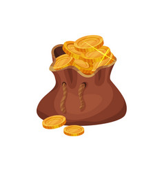 small brown bag full of golden coins concept of vector image