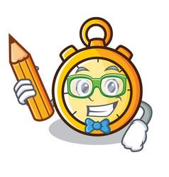 Student chronometer character cartoon style vector