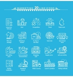 Thin Lines Icons Set of Marketing vector image vector image