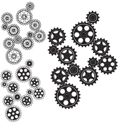 Toothed gears in a single mechanism vector image