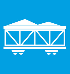 Train cargo wagon icon white vector